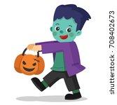 happy halloween. funny little... | Shutterstock .eps vector #708402673
