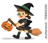 halloween witch. cute little... | Shutterstock .eps vector #708403183