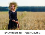 portrait of a young beautiful... | Shutterstock . vector #708405253