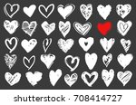 hearts vector set. hand drawn...