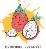 fresh and tasty dragon fruit ... | Shutterstock .eps vector #708427987