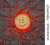 bitcoin smashes a burning...   Shutterstock . vector #708429427