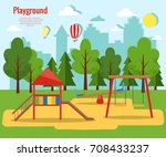 children's playground vector... | Shutterstock .eps vector #708433237