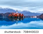 bled lake in slovenia  famous... | Shutterstock . vector #708443023