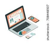 laptop  smartphone  credit... | Shutterstock .eps vector #708448507