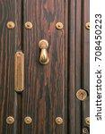 typical  door knocker  on... | Shutterstock . vector #708450223