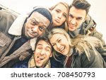 best friends taking selfie... | Shutterstock . vector #708450793