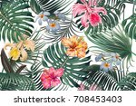 floral seamless vector tropical ... | Shutterstock .eps vector #708453403