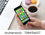 woman hands holding white phone ... | Shutterstock . vector #708456637