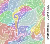 colorful zentangle seamless... | Shutterstock .eps vector #708457237