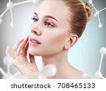 beautiful toyng woman among... | Shutterstock . vector #708465133