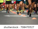marathon running race  people... | Shutterstock . vector #708470527