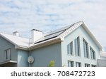 white clay tiled roof and solar ... | Shutterstock . vector #708472723