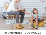 autistic boy having... | Shutterstock . vector #708493123