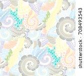 seamless ornamental ethnic... | Shutterstock .eps vector #708493543