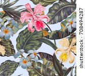 floral seamless vector tropical ... | Shutterstock .eps vector #708494287
