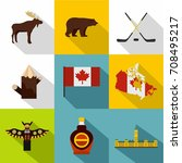 canada icon set. flat style set ... | Shutterstock .eps vector #708495217