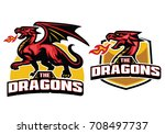 red dragon mascot with fire... | Shutterstock .eps vector #708497737