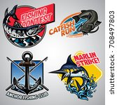 fishing badge design collection ... | Shutterstock .eps vector #708497803