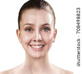 woman's face before and after...   Shutterstock . vector #708498823