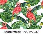 tropical seamless vector floral ... | Shutterstock .eps vector #708499237