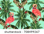 pink flamingos  exotic birds ... | Shutterstock .eps vector #708499267