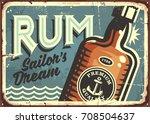rum vintage tin sign. retro... | Shutterstock .eps vector #708504637
