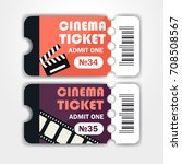two tickets to the cinema.... | Shutterstock .eps vector #708508567