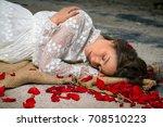 young beautiful woman in... | Shutterstock . vector #708510223
