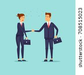 businessmen shaking hands.... | Shutterstock .eps vector #708515023