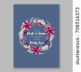 watercolor wedding invitation... | Shutterstock .eps vector #708516373