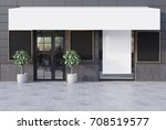 gray cafe exterior with a glass ... | Shutterstock . vector #708519577