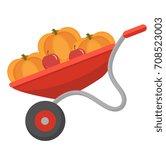 wheelbarrow with pumpkins  icon ... | Shutterstock .eps vector #708523003