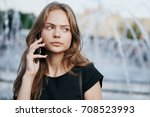 young  attractive woman talking ... | Shutterstock . vector #708523993