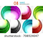 set of colorful flowing motion... | Shutterstock .eps vector #708524047