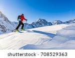 mountaineer backcountry ski... | Shutterstock . vector #708529363