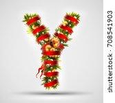 christmas font. letter y of... | Shutterstock .eps vector #708541903