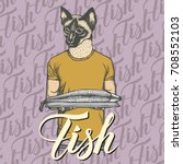 vector cat with fresh fish... | Shutterstock .eps vector #708552103