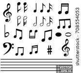 notes. set. music. sounds. for... | Shutterstock .eps vector #708554053