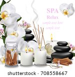 spa relax card candles  orchid  ... | Shutterstock .eps vector #708558667