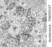 vector floral seamless pattern... | Shutterstock .eps vector #708559237