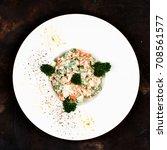 traditional russian salad... | Shutterstock . vector #708561577