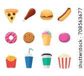 set of fast food icons  burger  ... | Shutterstock .eps vector #708563677