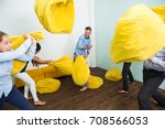 five careless people fighting... | Shutterstock . vector #708566053