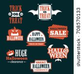 halloween badge and label... | Shutterstock .eps vector #708570133