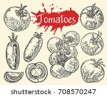 tomato vector drawing set.... | Shutterstock .eps vector #708570247