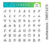 set of 56 fitness line icons... | Shutterstock .eps vector #708571273