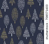seamless christmas tree | Shutterstock .eps vector #708571603