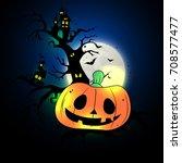 halloween party pumpkin vector... | Shutterstock .eps vector #708577477