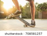 closeup of man legs with... | Shutterstock . vector #708581257